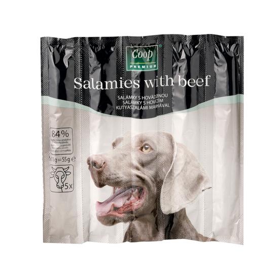 Salámky s hovädzinou pre dospelé psy 55g